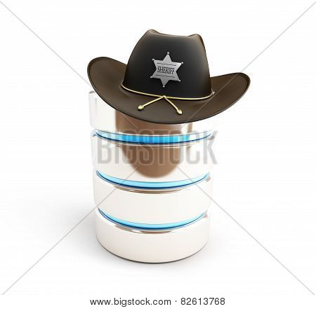 Database Protected Sheriff Hat  On A White Background