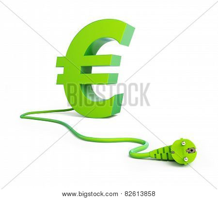 Euro Sign Green Power Plug On A White Background