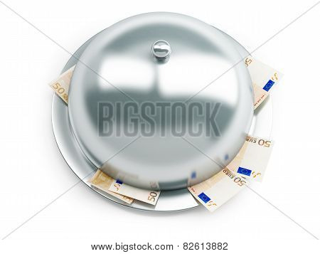 Tray Euro Money On A White Background