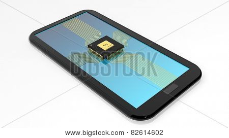 Smartphone/Tablet with CPU chip on screen isolated on white background