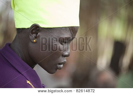PANWELL, SOUTH SUDAN-NOVEMBER 2, 2013: An unidentified woman with facial scarification in the village of Panwell, South Sudan