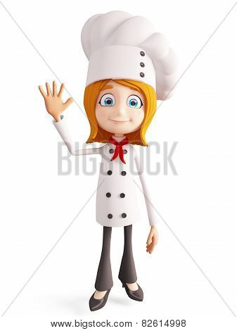 Chef Character With Saying Bye Pose
