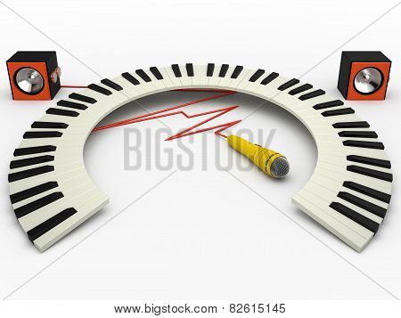 Curved Piano Keyboard, Microphone And Speakers, 3D