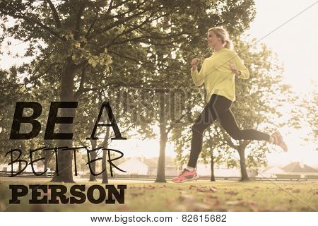 Active pretty blonde jogging against be a better person