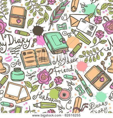 Diary Seamless Pattern