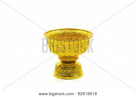 Tray With Pedestal Isolated On White Background