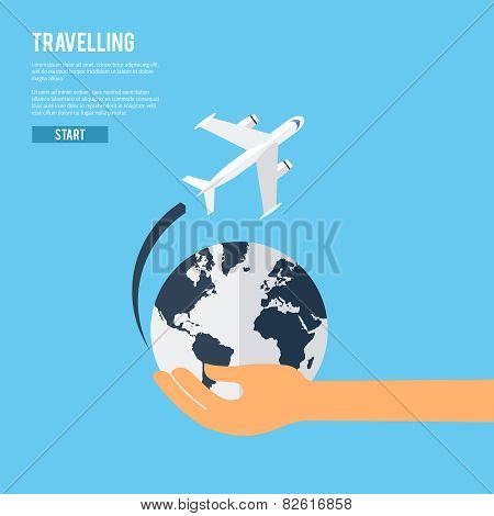 Global earth travel concept icon