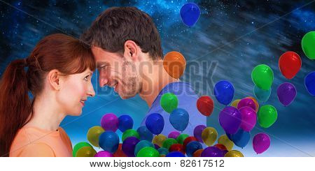 Couple looking at each other against aurora night sky in blue