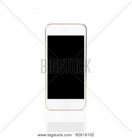 Isolated White Touch Phone With A Black Screen