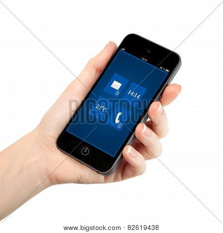 Isolated Female Hand Holding A Phone With Interface Background On A Screen