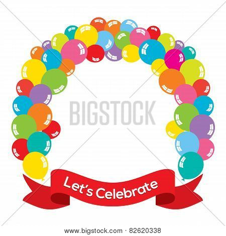 Colorful Balloons Arch With Red Ribbon.