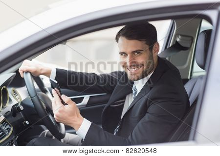 Businessman sending a text message in his car