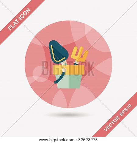 Shovel And Bucket Toys Flat Icon With Long Shadow,eps10