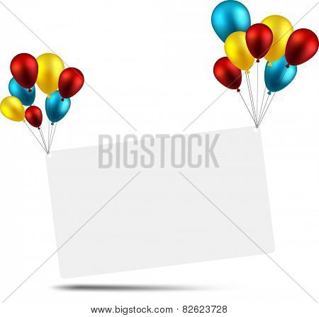 Celebration paper card background with colorful balloons. Vector illustration.