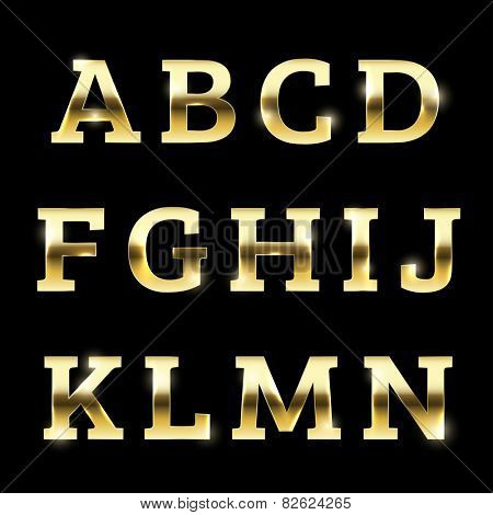 Golden glittering metal alphabet.