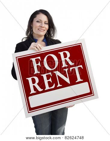 Smiling Hispanic Woman Holding For Rent Sign Isolated On White.