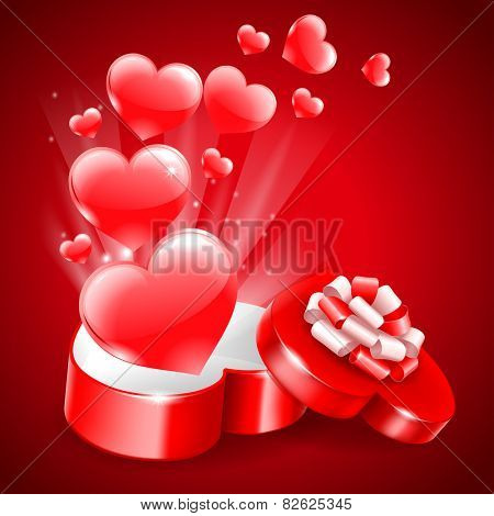 Holiday background for Valentine's Day with a gift box in heart shape