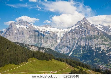 Schreckhorn In Swiss Alps