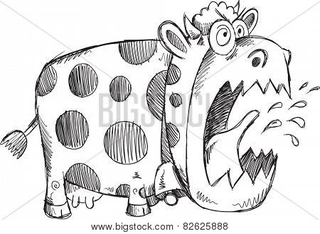Mad Crazy Cow Sketch Vector Illustration Art