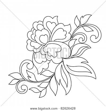 Vintage hand-drawnornament with flowers. Vector illustration.