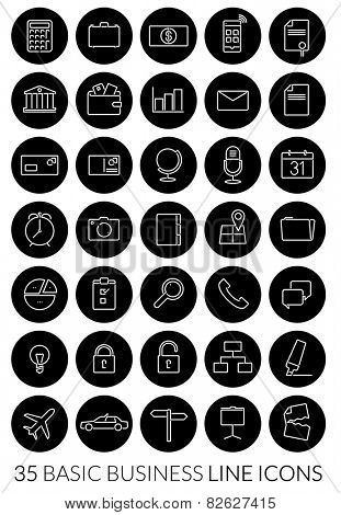Business Line Icon Vector Set. Collection of 35 basic business line icons, negative in black circles.
