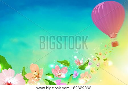 Hot air balloon with flowers flying from