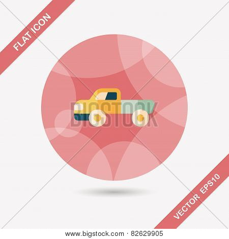Transportation Moving Truck Flat Icon With Long Shadow,eps10