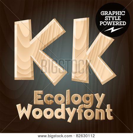 Vector font set of wood ecology font. Letter K