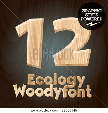 Vector font set of wood ecology font. Numbers 1 2
