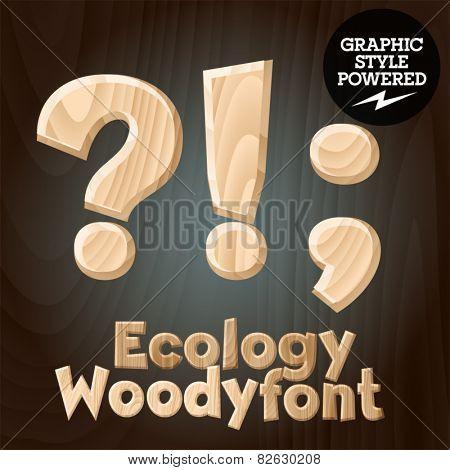 Vector font set of wood ecology font. Symbols 4
