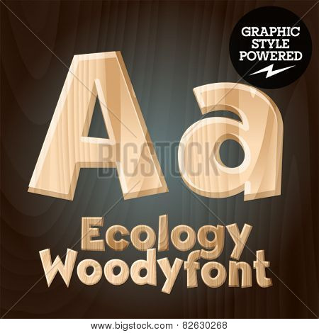 Vector font set of wood ecology font. Letter A