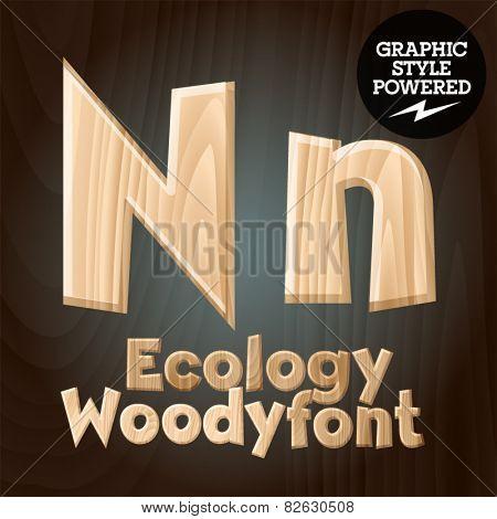 Vector font set of wood ecology font. Letter N