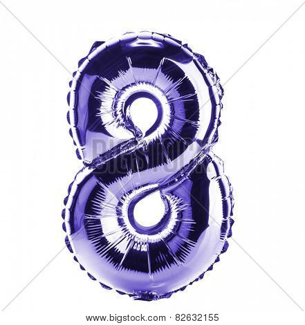 Purple Chrome balloon font part of full set of numbers, number eight, 8