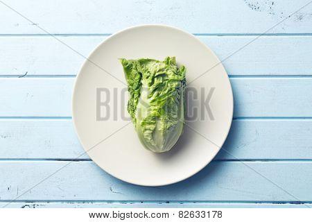 the fresh lettuce on plate