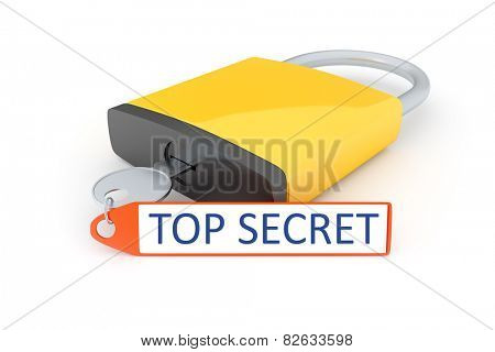 An image of a lock with the text top secret