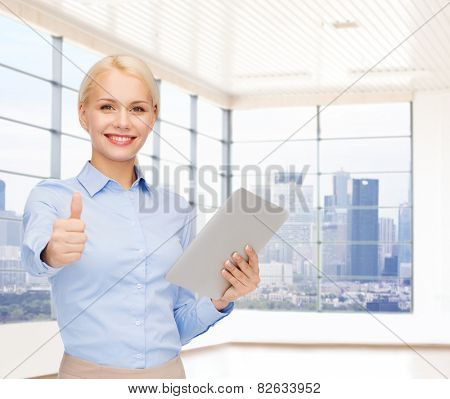 education, business and technology concept - smiling businesswoman or student with tablet pc computer over office room or new apartment background