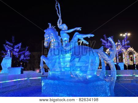 YEKATERINBURG, RUSSIA - JANUARY 2, 2015: Ice sculptures on the Square of 1905. Municipality paid 18,9 millions rubles for the construction of ice town for Christmas celebrations