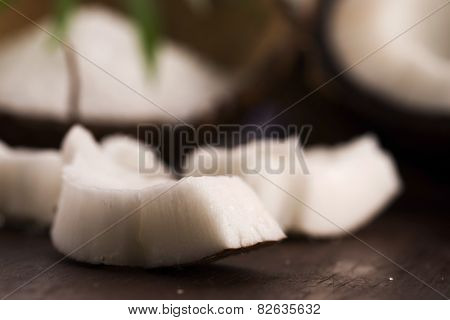Close Up Of A Coconut On A Wooden Background