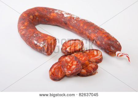 Red Chorizo With Some Cut Piece