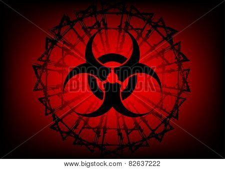 Biohazard Symbol And  Barbed Wire On Red Background