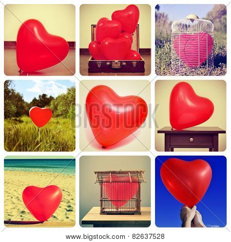 a collage of different pictures, shot by myself, of heart-shaped balloons in different locations