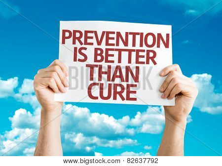 Prevention is Better than Cure card with sky background