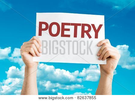 Poetry card with sky background