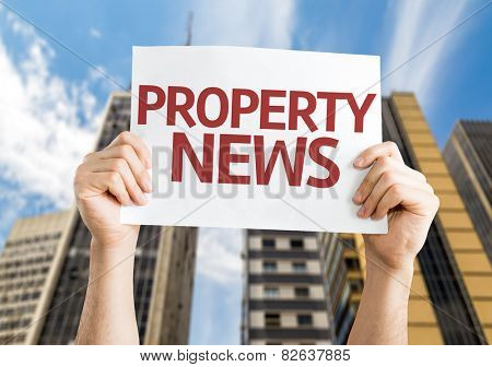 Property News card with urban background