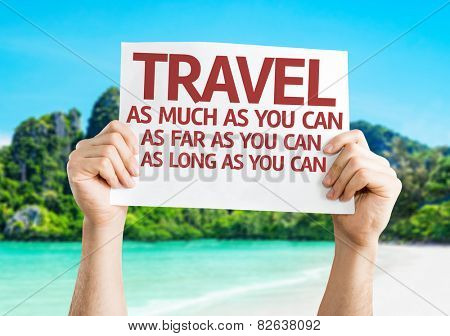 Travel As Much/Far/Long As You Can card with beach background