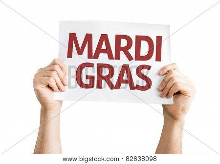 Mardi Gras card isolated on white background