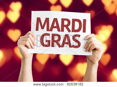 Mardi Gras card with heart bokeh background