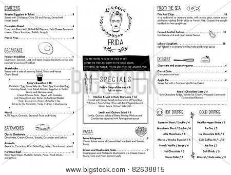 RESTAURANT MENU TEMPLATE. Vector illustration file with editable graphic design elements: typography, dividers, frames, illustrations, decorative elements, icons, symbols such as logo.