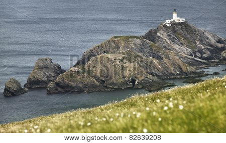 Scottish Coastline Landscape With Lighthouse In Shetland Islands. Scotland. Uk