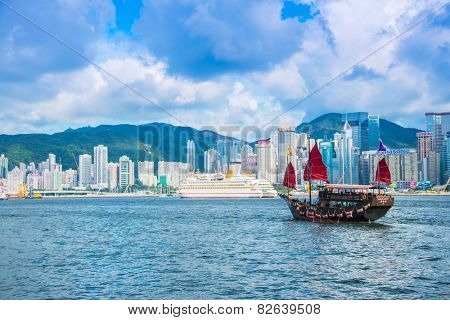 Hong Kong - JULY 27, 2014: Hong Kong Victoria Harbour on July 27 in China, Hong Kong. Aqua Luna is popular tourist attraction in Hong Kong
